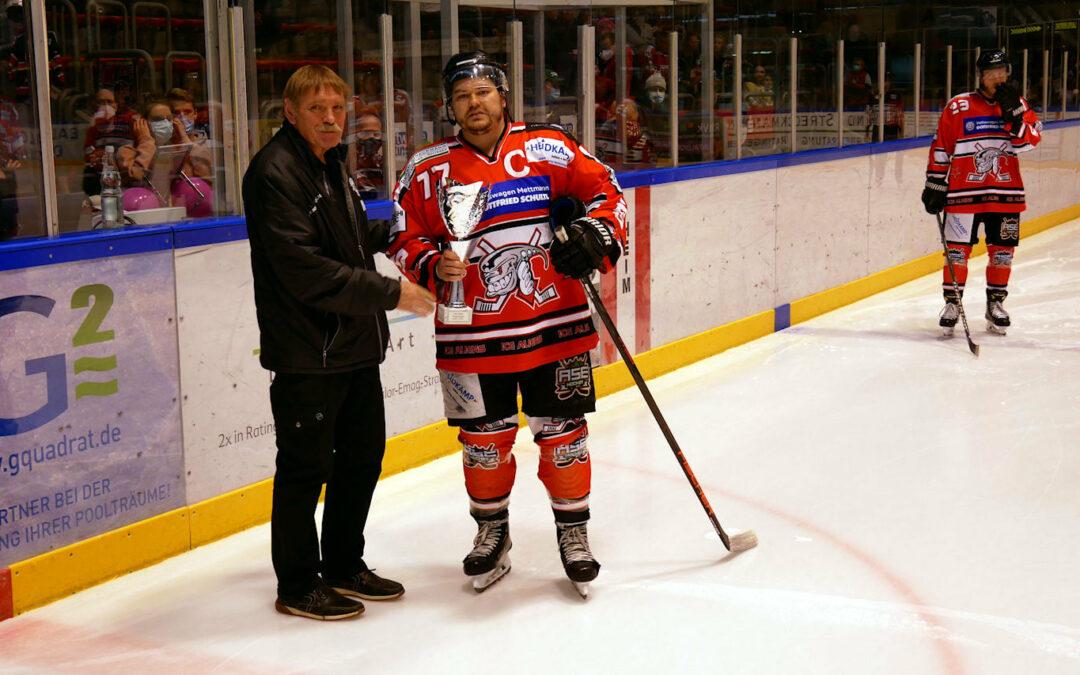 Werbung für das Eishockey in Ratingen beim 5:1 Sieg gegen die Bären aus Neuwied