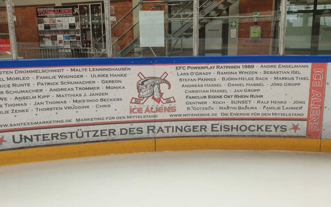 Unterstützer des Ratinger Eishockeys jetzt auf der Bande